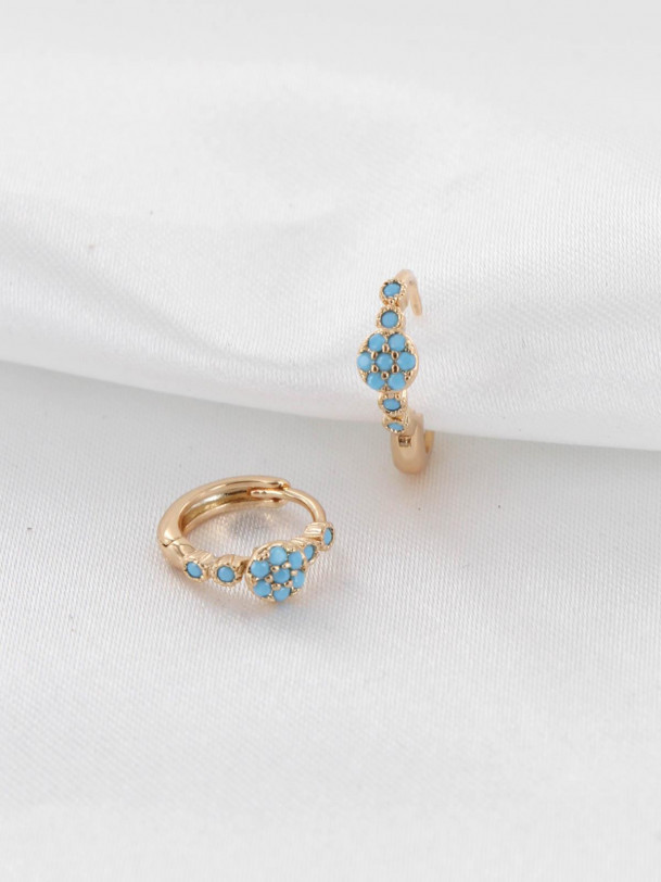 Boucles d'oreilles Lola Turquoise Or