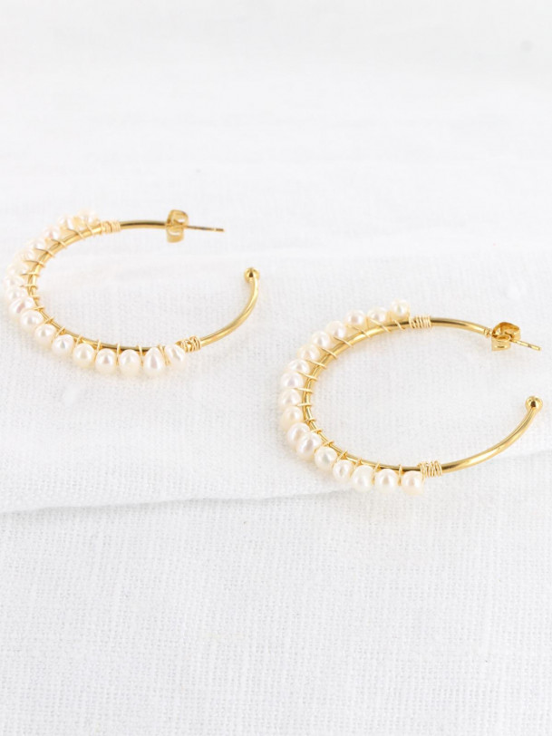 Boucles d'oreilles Vicky Perle Or