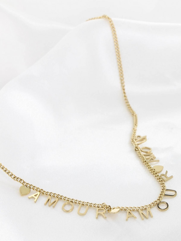 Collier Amour Lettre Or
