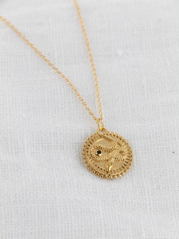 Collier Medaille Serpent Or