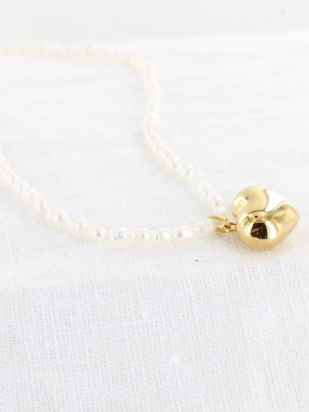 Collier Perle et Coeur Or