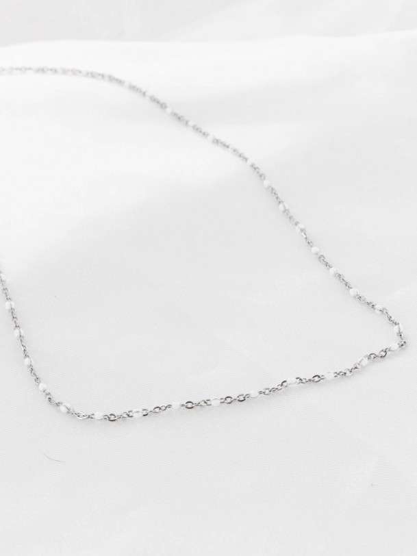Collier Tania Blanc Argent