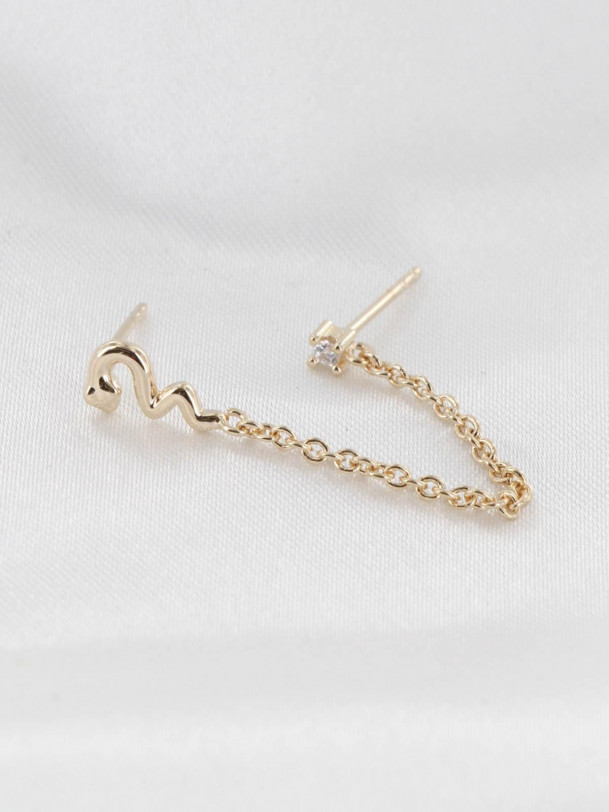 Mono boucle Snake et Chaine Or